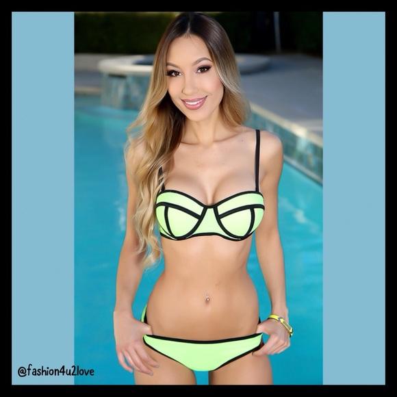 6d50f4e58cb fashion4u2love Swim | Sexy Neon Green Push Up 2 Piece Suit Bikini ...